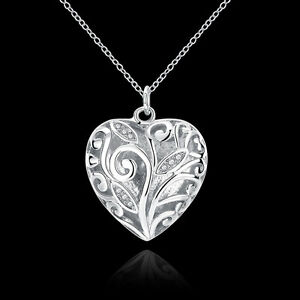 New-925-Sterling-Silver-Filled-Hollow-Heart-Locket-Charm-Pendant-Necklace-Chain