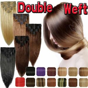 Clip-In-Hair-Extensions-Black-Blonde-Brown-Red-Auburn-15-22-inch-feels-human