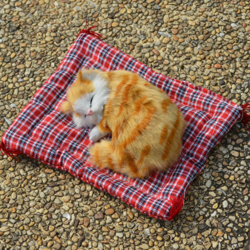 Faux Fur Realistic Mini Sleeping Cat on Rug Kids Plush Toy Kitten Christmas Gift