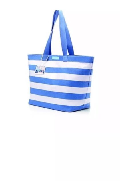 Dolce   Gabbana Light Blue Shopping Beach Tote Bag for Women - Blue white  Stripe 15edfe8be4c0f