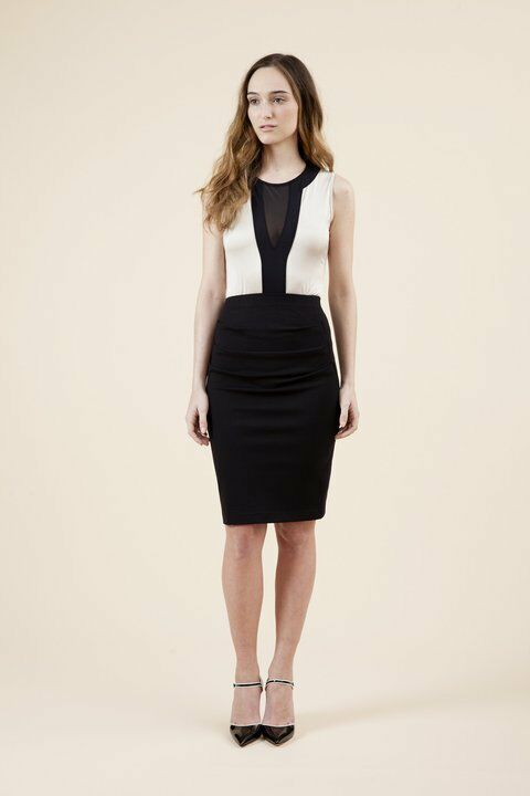 NWT WEAR IN GOOD HEALTH Bodysuit schwarz + Ivory Woherren sz L Luxury Mesh