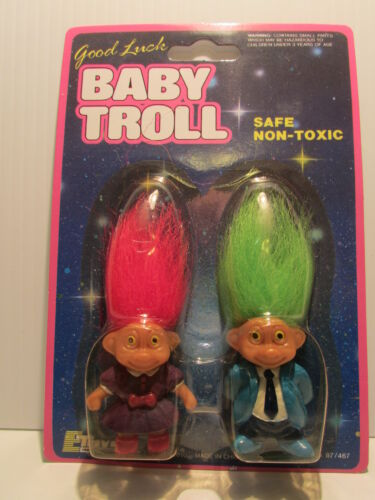 GOOD LUCK BABY TROLL DUO, MOTHER & FATHER - 2 Soma Troll Dolls - NEW