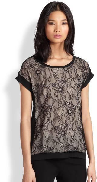 DVF Diane Von Furstenberg CORDELIA FLORAL CHANTILLY LACE Silk Blouse Top