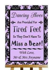 Lila Negro Damasco Zapatos de baile con los pies cansados Personalizado Boda Signo
