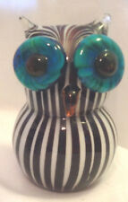 OWL GLASS BLACK AND WHITE VERTICAL STRIPES TURQUOISE EYES VERY HEAVY EC