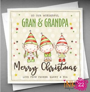 Image Is Loading Personalised Christmas Card Gran And Grandad Nana Amp