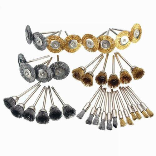 36Pcs Brass Steel Wire Brush Polishing Wheels Full Kit for Rotary Tool Drill OVH
