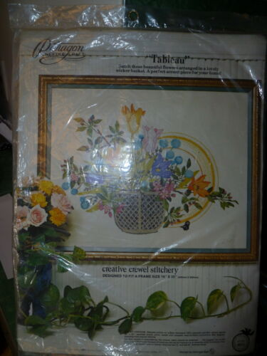 Vintage Paragon Needlecraft Kit Tableau Flowers in Wicker Basket 1976 NIP Sealed