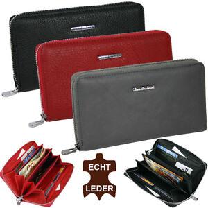 Damen-Leder-Geldboerse-grosses-Portmonee-Geldbeutel-viele-Faecher-Reissverschluss