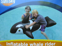 Inflatable Whale Rider-swimming Pool Water-sun&sky-68l Deflated-black-free Ship