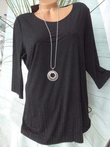 928 Mia Moda Shirt Chemise Longue Avec Paillettes Taille 46 à 52 noir