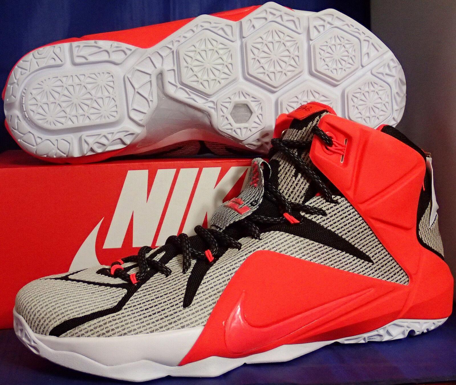 Nike Lebron XII 12 iD White Bright Crimson Black SZ 10.5 ( 728709-994 )