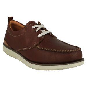Detalles de Hombre Clarks Cuero Caoba Casual con Cordones Zapatos Cómodos Talla Edgewood Mix