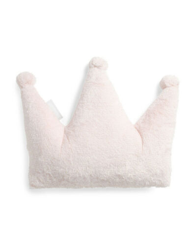 Princess Bunny Crown Sparkle Decorative Bed Furniture Pillow With Pom Pom 18x18