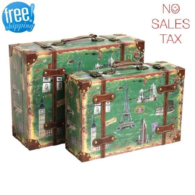 Decorative Suitcase Set Trunk 9 Vintage Antique Retro Style Luggage Travel  Decor