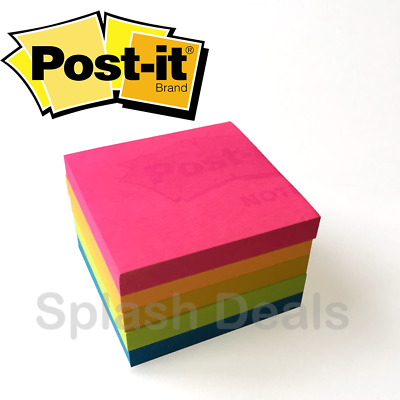 Neon Post it® Notes Removable Sticky Paper Pads 76mm x 76mm