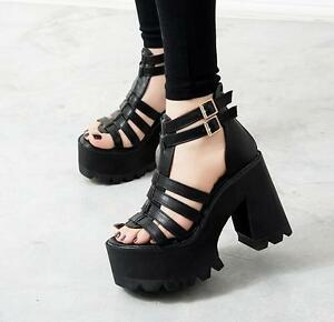 11549bbd9641 Image is loading Womens-Chunky-Heels-Platform-Strap-Buckle-Gladiator-Punk-