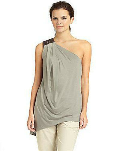 NWT KAUFMANFRANCO XS one shoulder asymmetric top with leather  twine jersey