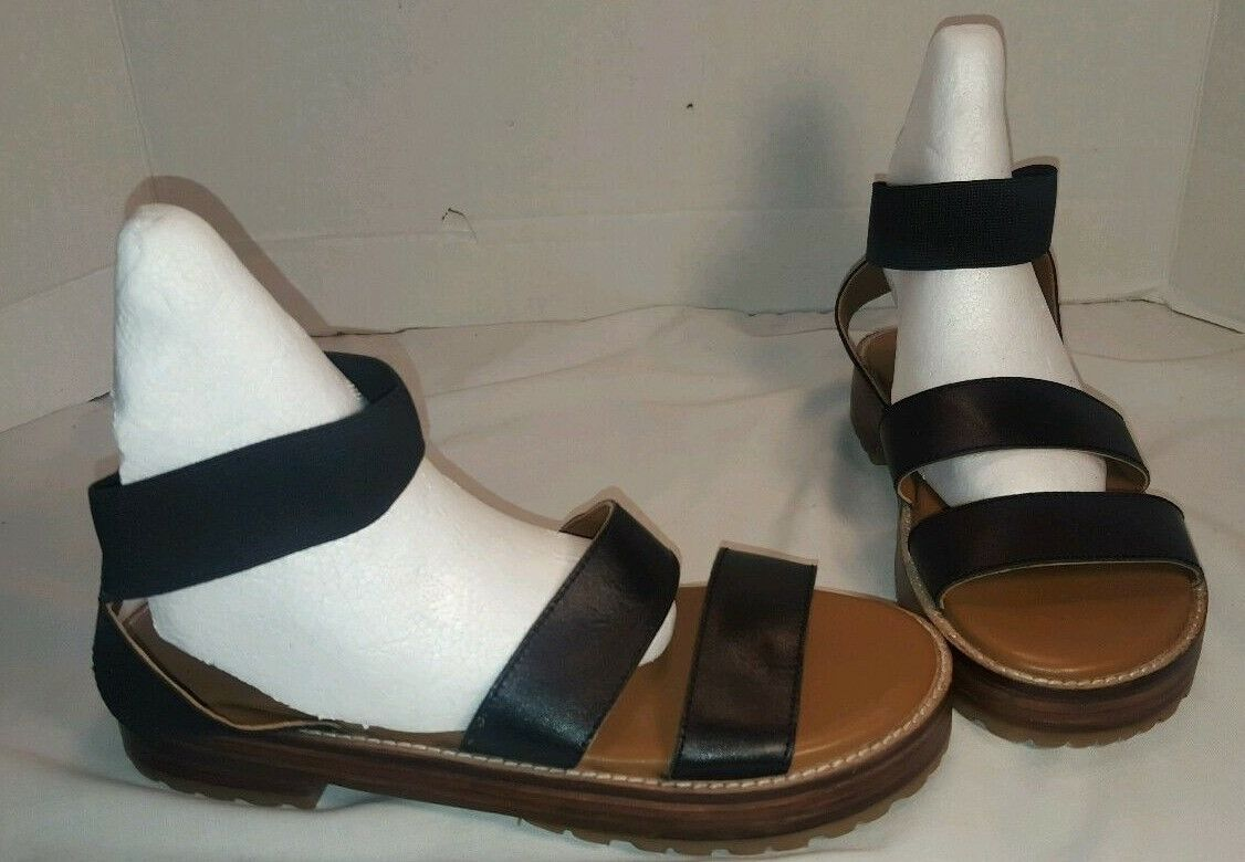 NEW FREE PEOPLE BYRON FLATFORM BLACK LEATHER WOMEN'S SANDALS US 7 37