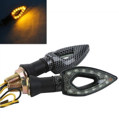 paar 10mm Blinker LED Licht lamp Universal Carbon Fiber Für Honda Yamaha