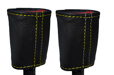 YELLOW STITCH 2X SEAT BELT STALK LEATHER COVERS FITS SMART ROADSTER 2003-2005
