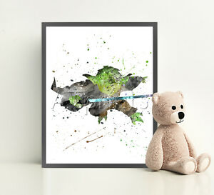 STAR-WARS-Poster-Print-Watercolor-Framed-Canvas-Wall-Art-Nursery-Pop-Jedi-YODA