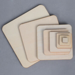 Unfinished Scrapbooking Blank Plaque Wooden Tags Ornament Square Wood Pieces