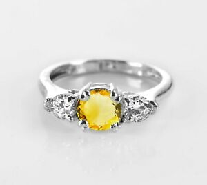 Citrine-925-Sterling-Silver-Ring-Natural-Yellow-Solitaire-Size-4-11