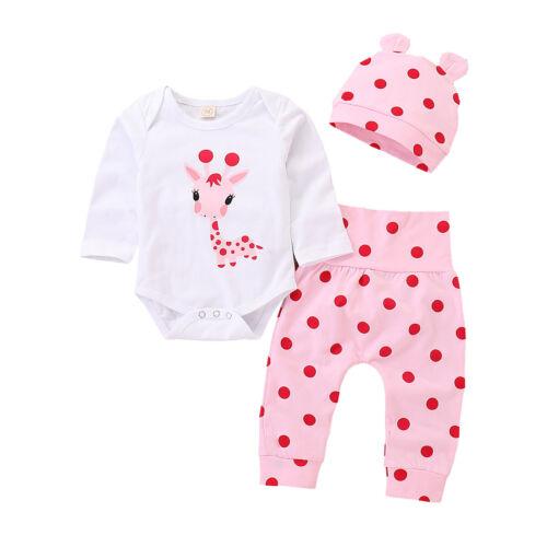 Infant Baby Mädchen T-Shirt Tops Hosen Stirnband Gepunktet Outfits Kleidung Sets