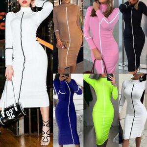 Womens-Long-Sleeve-Bodycon-Dress-Ladies-High-Neck-OL-Party-Slim-Midi-Dress-UK