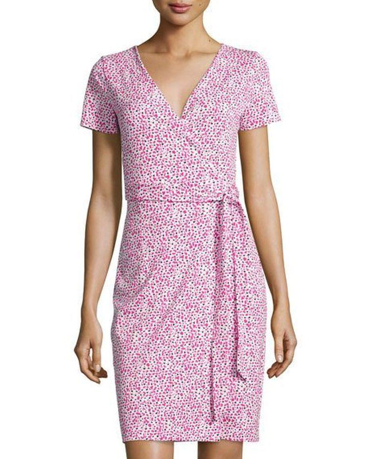 NWT Diane von Furstenberg New Julian Sea Daisy Tiny Pink Wrap Dress 4  398