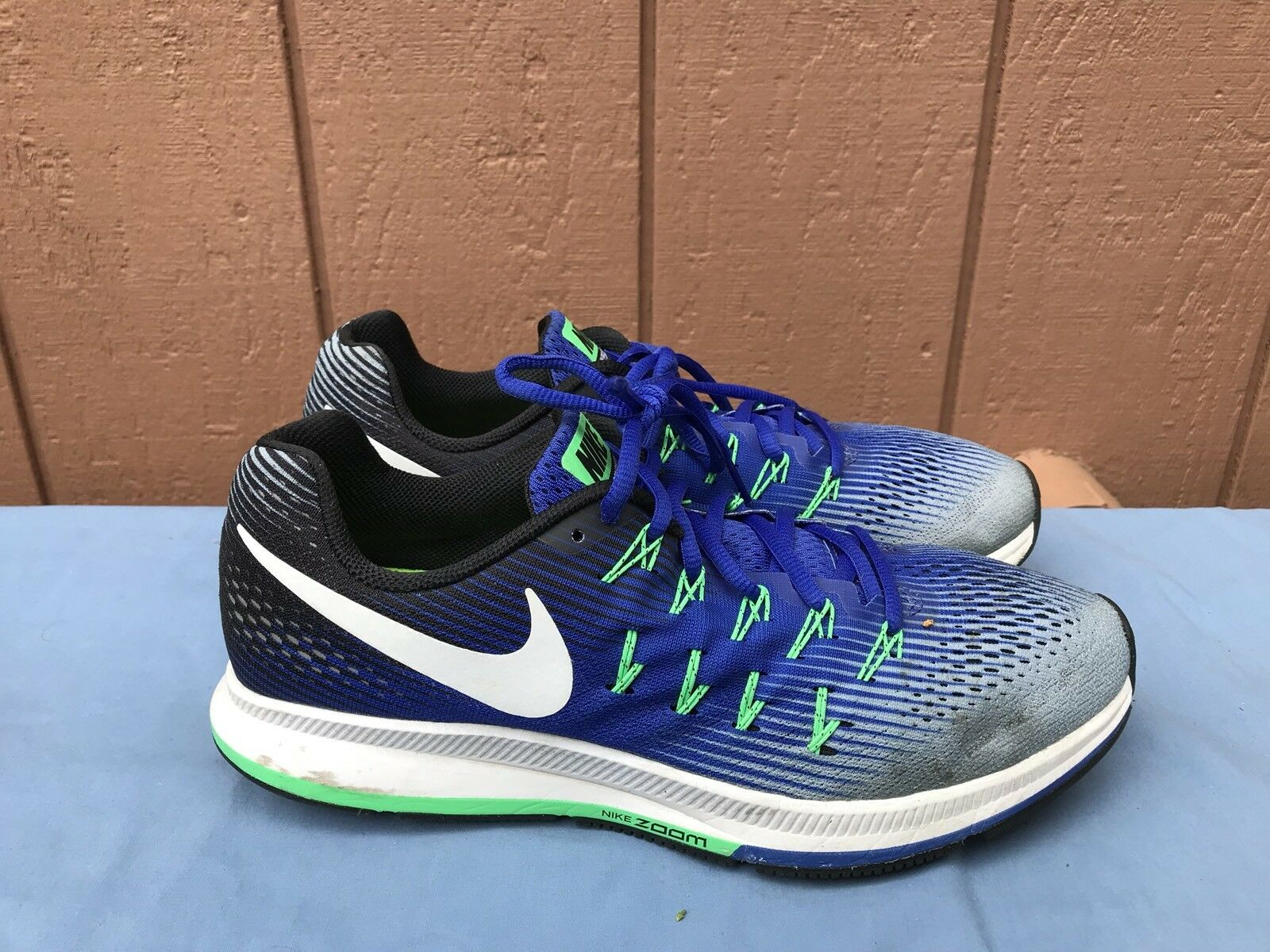 EUC Men's Nike Air Zoom Pegasus 33 Size US 10.5 Blue/Grey/White 831352-008 A2