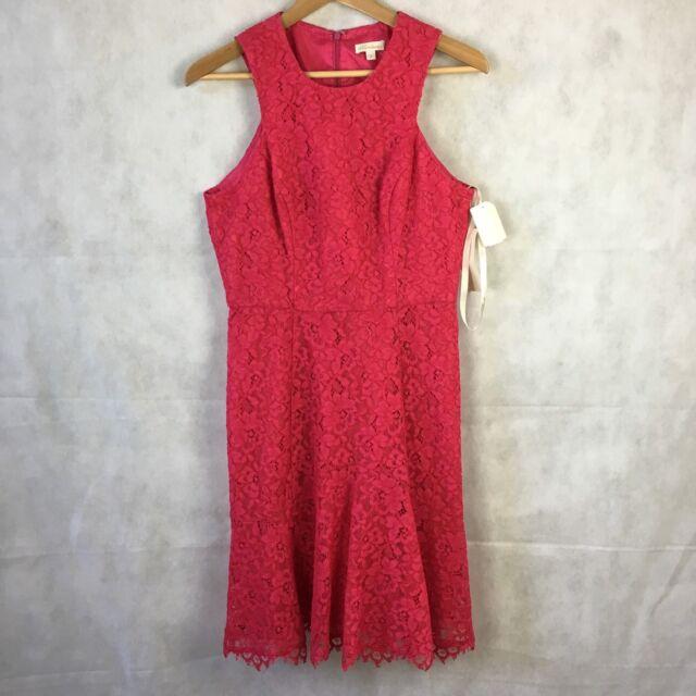 Shoshanna Lace Peplum Dress Formal Party Cocktail Hot Pink 6 Ebay