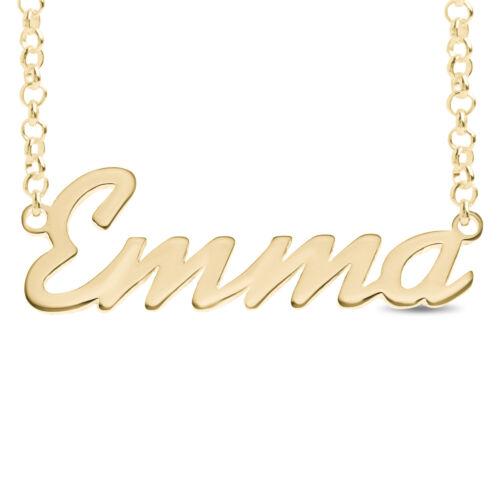 Emma COLLANA TARGHETTA Oro//Rosa Placcato Oro Pendente in Argento Sterling 925