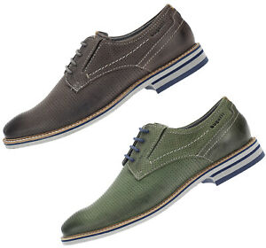 Details zu Bugatti Herren Schuhe Echtleder Halbschuhe Business Schnürer 44702 grau grün