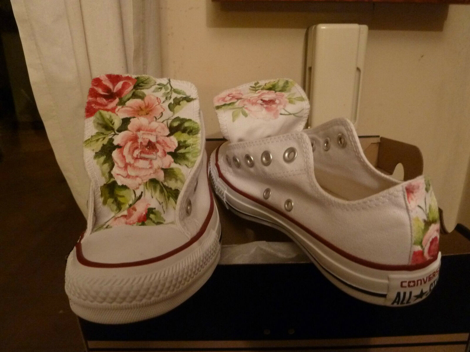 Converse All Star White Low White Low Floral Flowers Rose Flowers HANDMADE