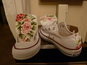 Converse All Star Bianche Basse White Low Floral Flowers Rose Fiori HANDMADE