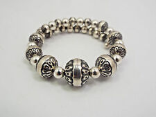 Relios Carolyn Pollack Sterling Silver Southwestern Textured Bead Coil Bracelet