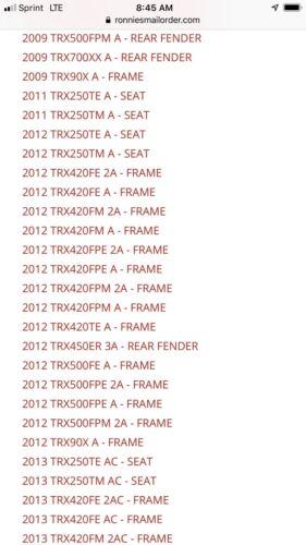 OEM HONDA Seat Mounting Cushions ATC 200X 250R TRX 300EX 400EX 450R 420 500