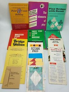 Huge-Lot-of-Vintage-Bridge-Instructional-amp-Strategy-Books-and-Blank-Score-Pads