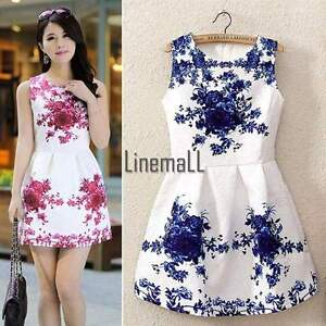 Chinese-Style-Women-Sexy-Sleeveless-White-And-Blue-Porcelain-Floral-Print-Dress