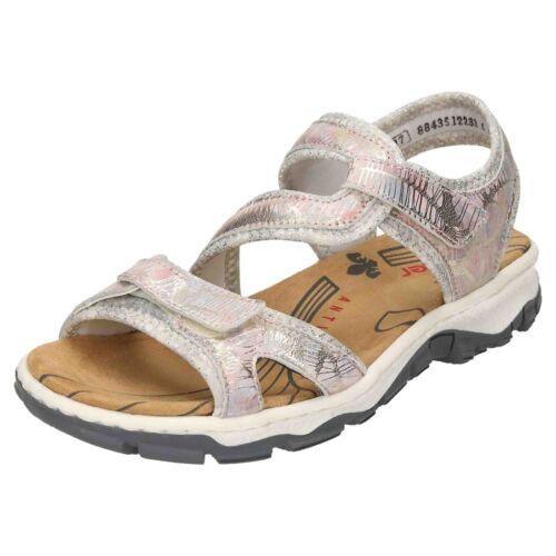 Flat 90 Open Shoe 68869 Metallic Sandals Low Tape Rip Rieker Slingback Leather Toe v6aUv