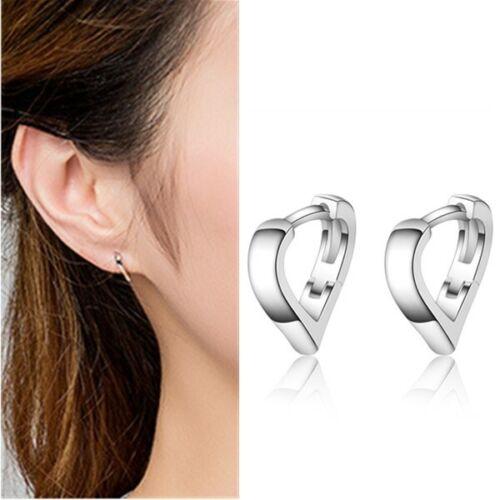 Mignon en forme de cœur petit Hoop CALIN Boucles D/'oreilles Pour Femmes Fille