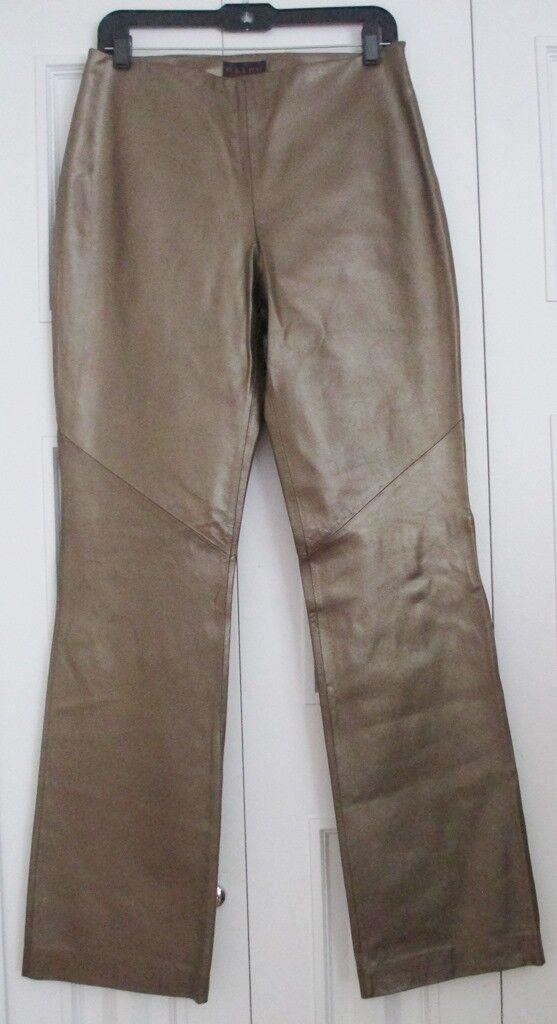 995 New Lauren Ralph Lauren Brown Bronze Leather Straight Leg Pants Run 6 X 32