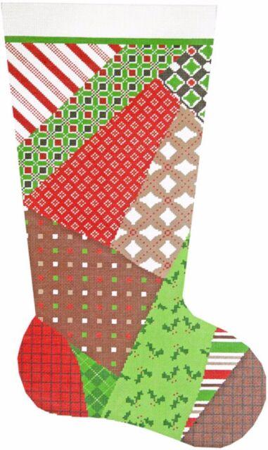 needlepoint handpainted canvas lee christmas stocking patchwork 23 - Needlepoint Christmas Stocking Canvas
