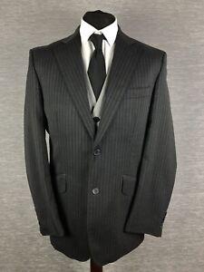 William-Hunt-Mens-Blazer-Jacket-Size-40R-Wool-Grey-Pin-Stripe-Savile-Row