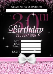 Image Is Loading 30TH BIRTHDAY PARTY INVITATIONS INVITES PINK LADIES WITH