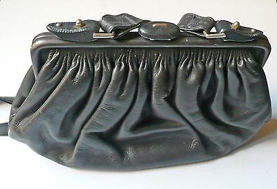 Sito Ufficiale Borsa In Pelle Goffrata Nera Anni '60 Vintage Leather Bag