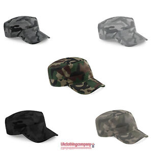 Beechfield-Military-Cap-Camouflage-Adults-Army-Peak-Hat-Baseball-Camo-Urban