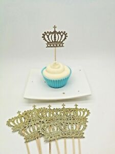 baby shower birthday Prince princess 12x Crown Gold Glitter Cupcake Toppers